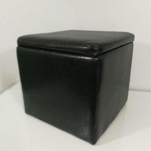 Black storage square cube ottoman footrest seat